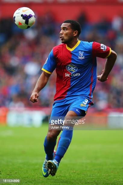 Adrian Mariappa of Crystal Palace controls the ball during the Barclays Premier League match between Crystal Palace and Swansea City at Selhurst Park...