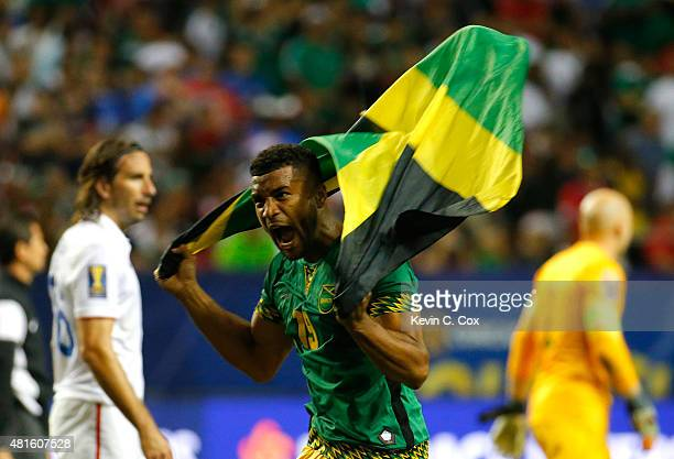 Adrian Mariappa of Jamaica celebrates their 21 win over the United States of America during the 2015 CONCACAF Golf Cup Semifinal match between...