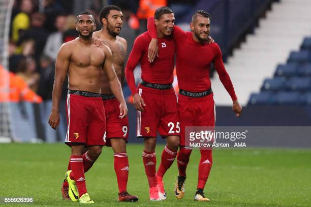 Adrian Mariappa of Watford and his teammates react at the end of the Premier League match between West Bromwich Albion and Watford at The Hawthorns...