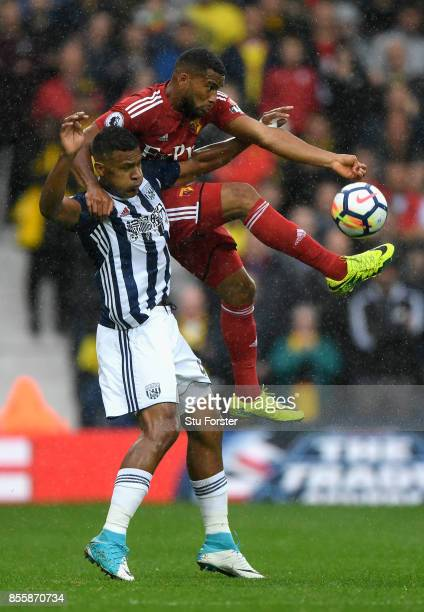 Adrian Mariappa of Watford and Jose Salomon Rondon of West Bromwich Albion compete for the ball during the Premier League match between West Bromwich...
