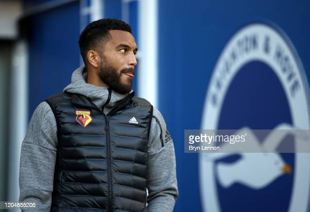 Adrian Mariappa of Watford arrives at the stadium prior to the Premier League match between Brighton & Hove Albion and Watford FC at American Express...