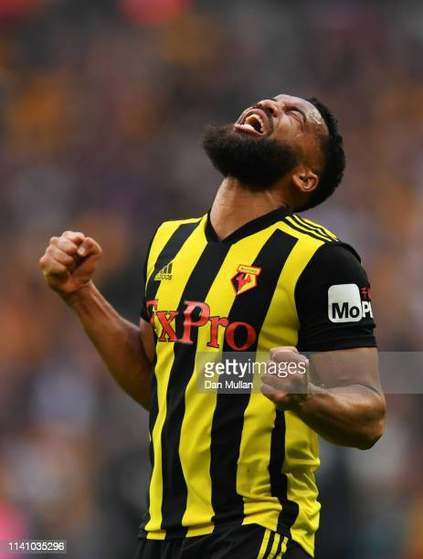 Adrian Mariappa of Watford celebrates victory after the FA Cup Semi Final match between Watford and Wolverhampton Wanderers at Wembley Stadium on...