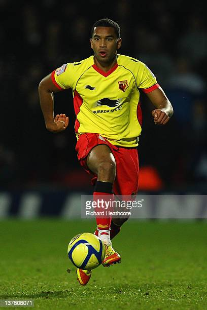 Adrian Mariappa of Watford controls the ball during the FA Cup Fourth Round match between Watford and Tottenham Hotspur at Vicarage Road on January...