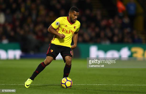 Adrian Mariappa of Watford during the Premier League match between Watford and West Ham United at Vicarage Road on November 19 2017 in Watford England