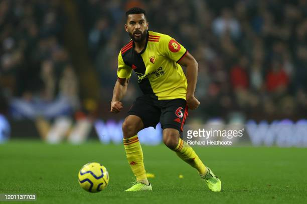 Adrian Mariappa of Watford in action during the Premier League match between Aston Villa and Watford FC at Villa Park on January 21, 2020 in...