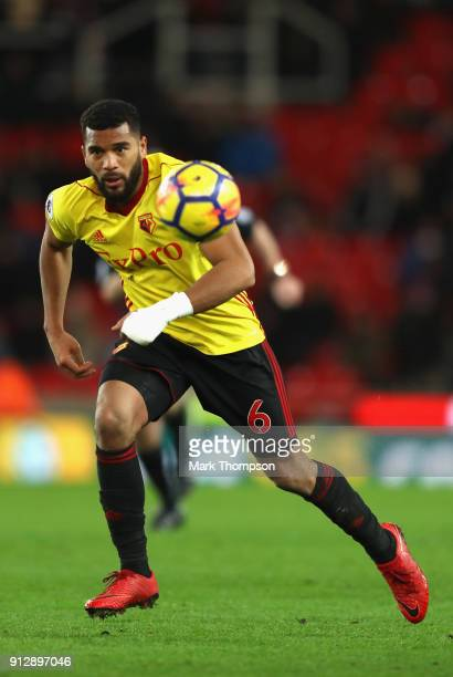 Adrian Mariappa of Watford in action during the Premier League match between Stoke City and Watford at Bet365 Stadium on January 31 2018 in Stoke on...