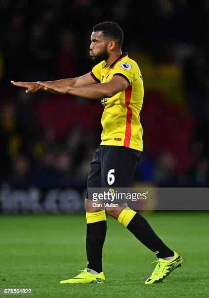 Adrian Mariappa of Watford reacts during the Premier League match between Watford and Liverpool at Vicarage Road on May 1 2017 in Watford England