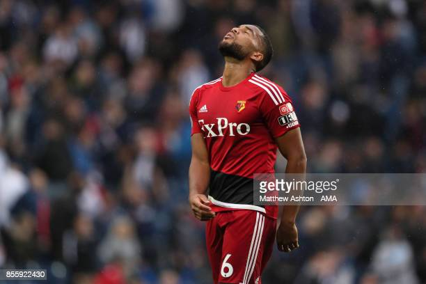 Adrian Mariappa of Watford reacts during the Premier League match between West Bromwich Albion and Watford at The Hawthorns on September 30 2017 in...