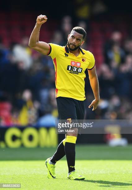 Adrian Mariappa of Watford shows appreciation to the fans after the Premier League match between Watford and Swansea City at Vicarage Road on April...