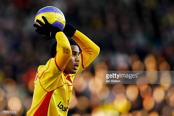 Adrian Mariappa of Watford takes a throw in during the Barclays Premiership match between Watford and Bolton Wanderers at Vicarage Road on February 3...