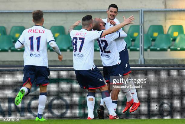 Adrian Marius Stoian of FC Crotone celebrates after scoring his team second goal during the serie A match between Hellas Verona FC and FC Crotone at...