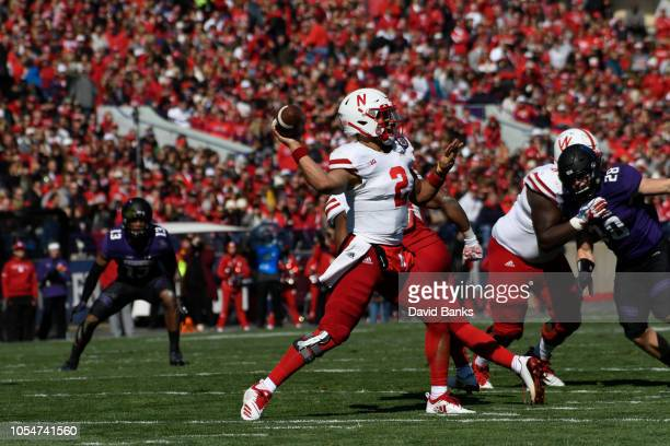 Adrian Martinez of the Nebraska Cornhuskers passes against the Northwestern Wildcats during the first half on October 13 2018 at Ryan Field in...