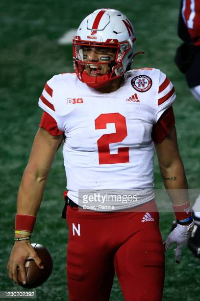 Adrian Martinez of the Nebraska Cornhuskers reacts to picking up the final first down securing the win during the fourth quarter at SHI Stadium on...