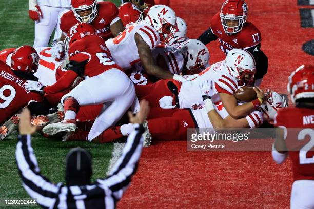 Adrian Martinez of the Nebraska Cornhuskers scores a touchdown during the fourth quarter against the Rutgers Scarlet Knights at SHI Stadium on...