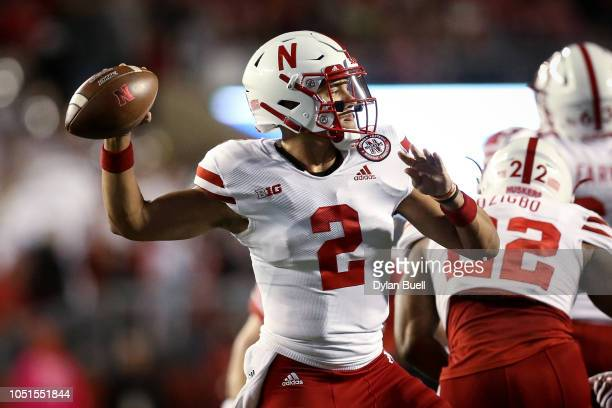 Adrian Martinez of the Nebraska Cornhuskers throws a pass in the first quarter against the Wisconsin Badgers at Camp Randall Stadium on October 6...