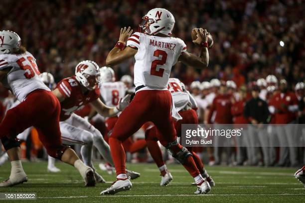 Adrian Martinez of the Nebraska Cornhuskers throws a pass in the third quarter against the Wisconsin Badgers at Camp Randall Stadium on October 6...