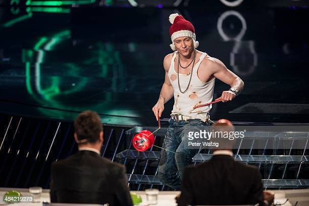 Adrian Mathias performs during the second Semifinal of 'Das Supertalent' TV Show on December 07 2013 in Cologne Germany