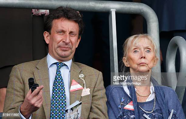 Adrian McGlynn and Sarah Kennedy watch the racing as they attend the Prince's Countryside Fund Raceday at Ascot Racecourse on April 3 2016 in Ascot...