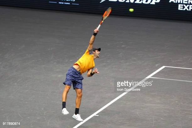 Adrian Menendez Maceiras of Spain serves during the tie breaker of the New York Open Tennis on February 13 at NYCB Live in Uniondale NY