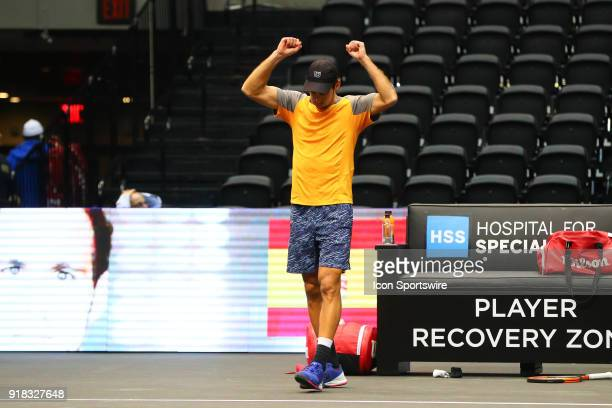 Adrian Menendez-Maceiras of Spain after winning his New York Open Match on February 14 at NYCB Live in Uniondale, NY.