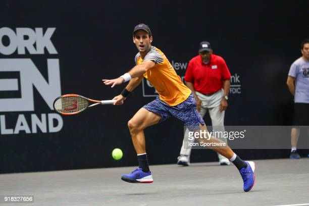 Adrian Menendez-Maceiras of Spain during his New York Open Match on February 14 at NYCB Live in Uniondale, NY.