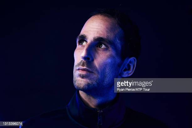 Adrian Menendez-Maceiras of Spain poses for a portrait at Melbourne Park on January 15, 2020 in Melbourne, Australia.