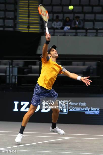 Adrian Menendez-Maceiras of Spain returns during the New York Open on February 13 at NYCB Live in Uniondale, NY.