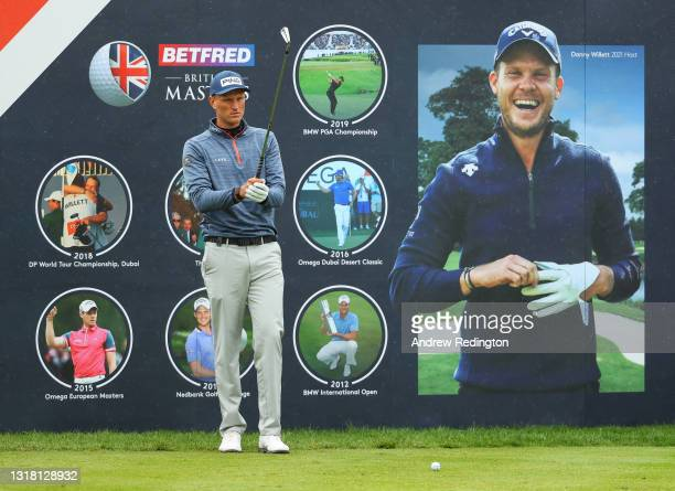 Adrian Meronk of Poland prepares to tee off on the first hole during the Final Round of The Betfred British Masters hosted by Danny Willett at The...