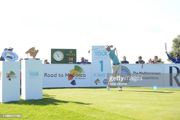 Adrian Meronk of Poland tees off on the first during day 1 of the Challenge Tour Grand Final at Club de Golf Alcanada on November 07 2019 in Mallorca...