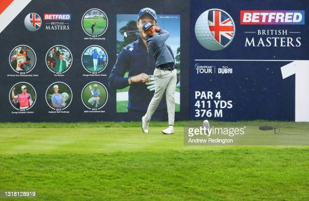 Adrian Meronk of Poland tees off on the first hole during the Final Round of The Betfred British Masters hosted by Danny Willett at The Belfry on May...