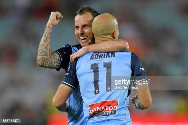 Adrian Mierzejewski of Sydney celebrates with Luke Wilkshire of Sydney after scoring a goal during the round 10 ALeague match between the Western...