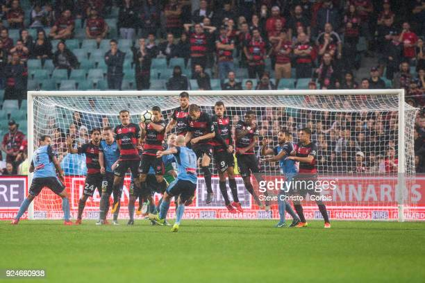 Adrian Mierzejewski of Sydney FC celebrates kicking a goal from a free kick during the round 21 ALeague match between Sydney FC and the Western...