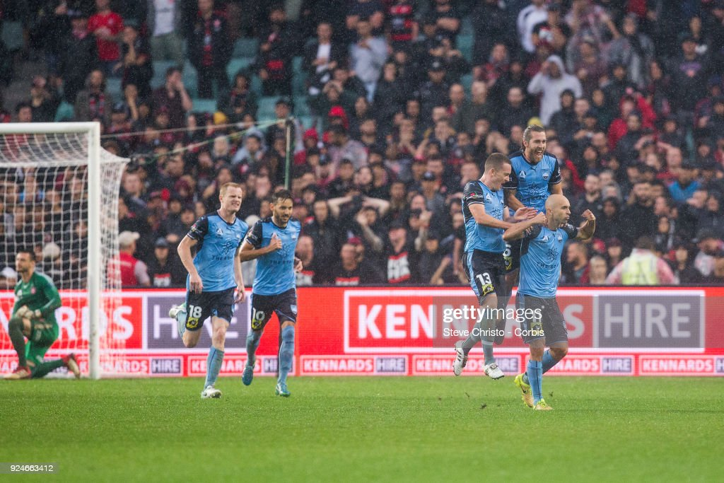 Adrian Mierzejewski of Sydney FC celebrates kicking a goal from a free kick during the round 21 A-League match between Sydney FC and the Western Sydney Wanderers at Allianz Stadium on February 25, 2018 in Sydney, Australia.