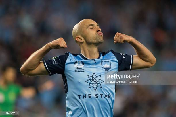 Adrian Mierzejewski of Sydney FC celebrates scoring a goal during the round 19 ALeague match between Sydney FC and the Wellington Phoenix at Allianz...