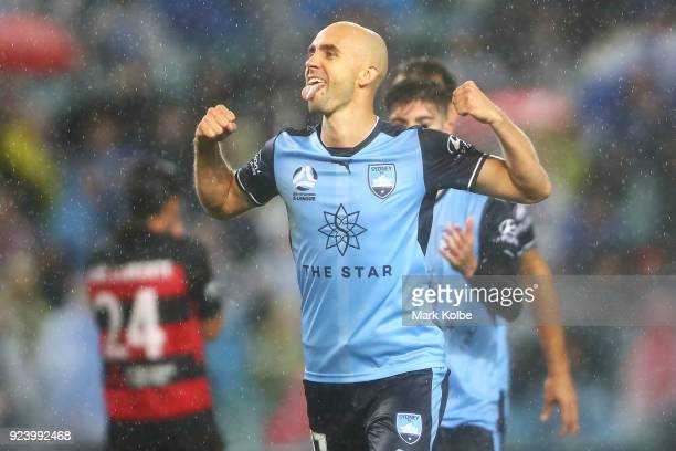 Adrian Mierzejewski of Sydney FC celebrates scoring a goal during the round 21 ALeague match between Sydney FC and the Western Sydney Wanderers at...