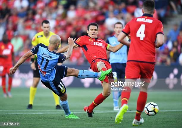 Adrian Mierzejewski of Sydney FC has a shot at goal during the round 16 ALeague match between Adelaide United and Sydney FC at Coopers Stadium on...