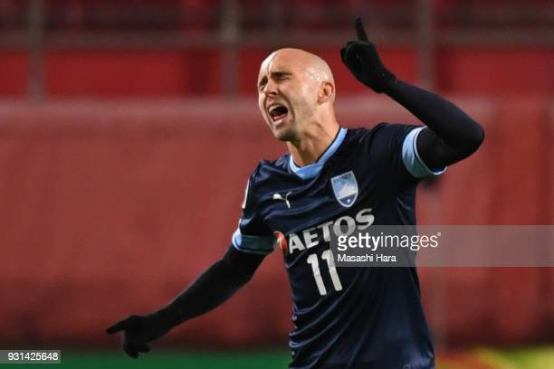 Adrian Mierzejewski of Sydney FC looks on during the AFC Champions League Group H match between Kashima Antlers and Sydney FC at Kashima Soccer...
