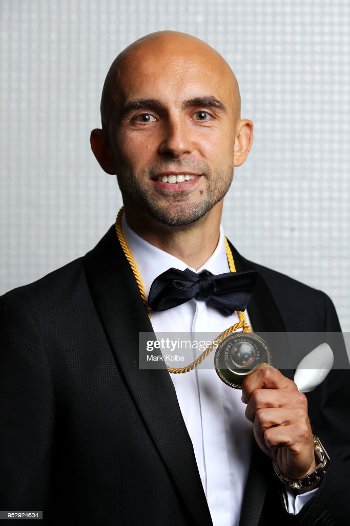 Adrian Mierzejewski of Sydney FC poses with the Johnny Warren Medal during the FFA Dolan Warren Awards at The Star on April 30, 2018 in Sydney, Australia.