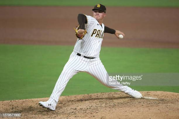 Adrian Morejon of the San Diego Padres pitches during the fourth inning of a game against the Seattle Mariners at PETCO Park on September 19 2020 in...