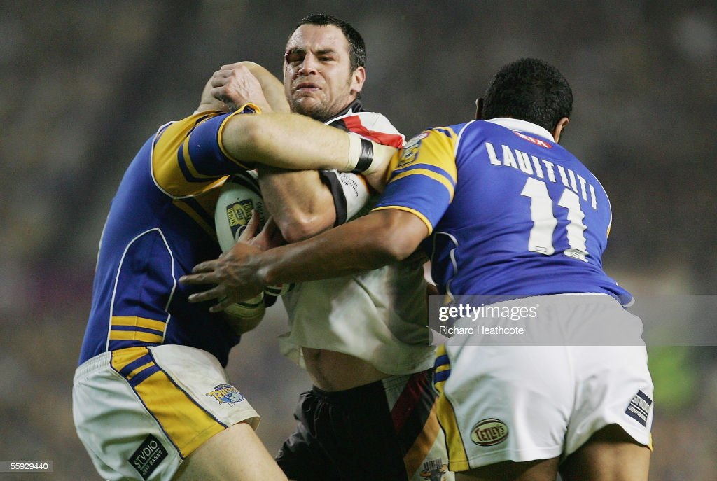 Adrian Morley of Bradford is halted by the Leeds defence during the Engage Super league Grand Final between Leeds Rhinos and Bradford Bulls at Old Trafford on October 15, 2005 in Manchester, England.