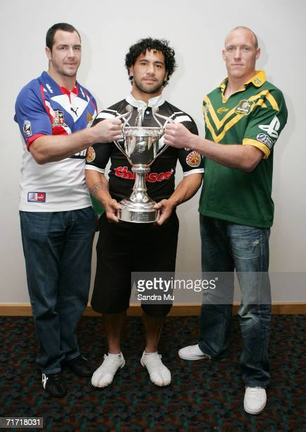 Adrian Morley of Great Britain Ruben Wiki of New Zealand and Craig Fitzgibbon of Australia with the TriNations trophy during the Tri Nations Series...