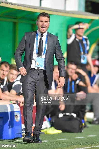 Adrian Mutu FC Voluntaris head coach during the match Concordia Chiajna vs FC Voluntari his first match as a coach in Bucharest Romania on April 21...