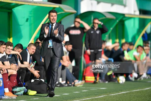 Adrian Mutu FC Voluntaris head coach during the match Concordia Chiajna vs FC Voluntari his first match as a coach in Bucharest Romania on April 21...