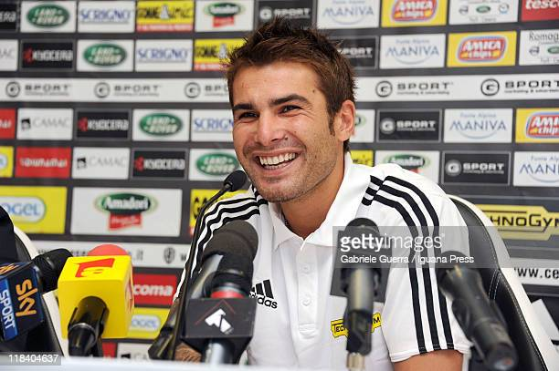 Adrian Mutu is unveiled by AC Cesena as their new player during a press conference at Dino Manuzzi Stadium on July 7 2011 in Cesena Italy