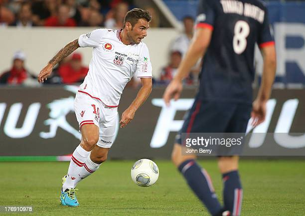 Adrian Mutu of AC Ajaccio in action during the Ligue 1 match between Paris Saint Germain FC and AC Ajaccio at the Parc des Princes stadium on August...