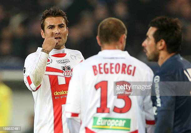 Adrian Mutu of AC Ajaccio reacts during the French Ligue 1 match between Paris Saint Germain FC and AC Ajaccio at the Parc des Princes stadium on...