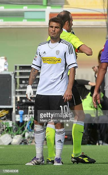 Adrian Mutu of AC Cesena after being sent off during the Serie A match between AC Cesena and ACF Fiorentina at Dino Manuzzi Stadium on October 16...