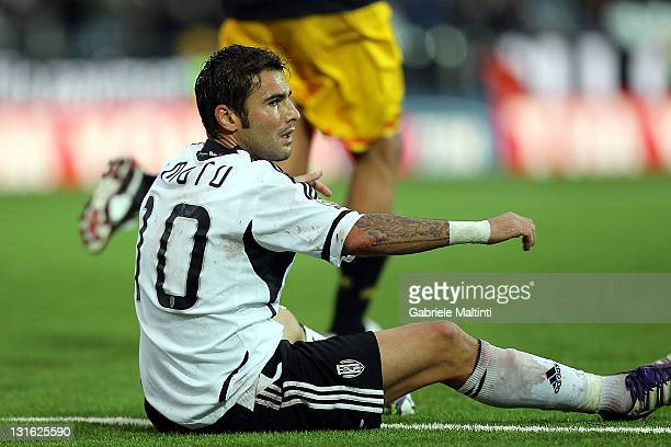 Adrian Mutu of AC Cesena FC looks dejected during the Serie A match between AC Cesena and US Lecce at Dino Manuzzi Stadium on November 6 2011 in...