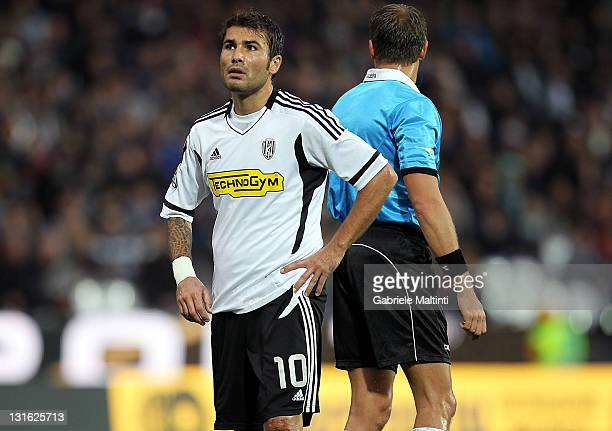 Adrian Mutu of AC Cesena Fc reacts during the Serie A match between AC Cesena and US Lecce at Dino Manuzzi Stadium on November 6 2011 in Cesena Italy