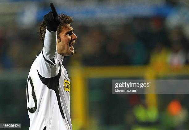 Adrian Mutu of AC Cesena gestures during the Serie A match between Atalanta BC and AC Cesena at Stadio Atleti Azzurri d'Italia on December 21 2011 in...